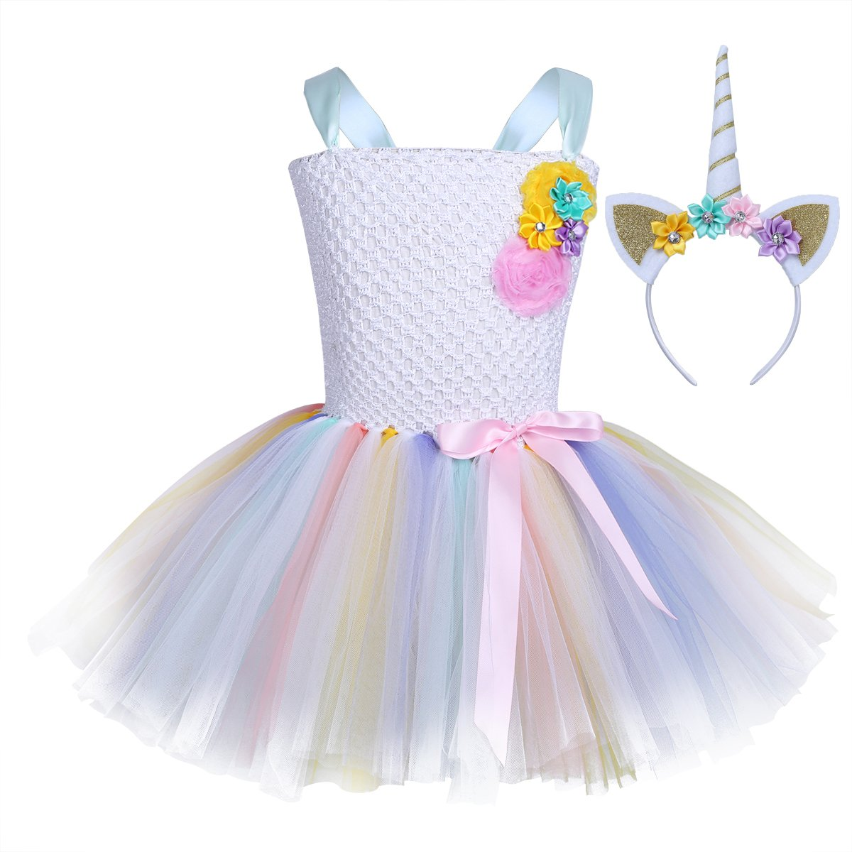 iEFiEL Girls Ballet Tutu Tulle Dress Birthday Party Costume Kids Princess Pageant Wedding Bridesmaid Dress Tutu + Hairband 5-6