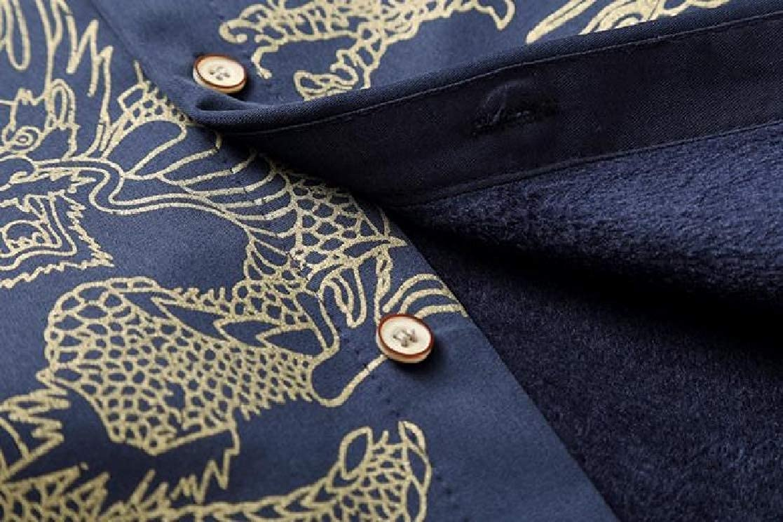 YUNY Mens Plus-Size Chinese Style Patterned Thicken Plus Velvet Long-Sleeve Shirts Navy Blue L
