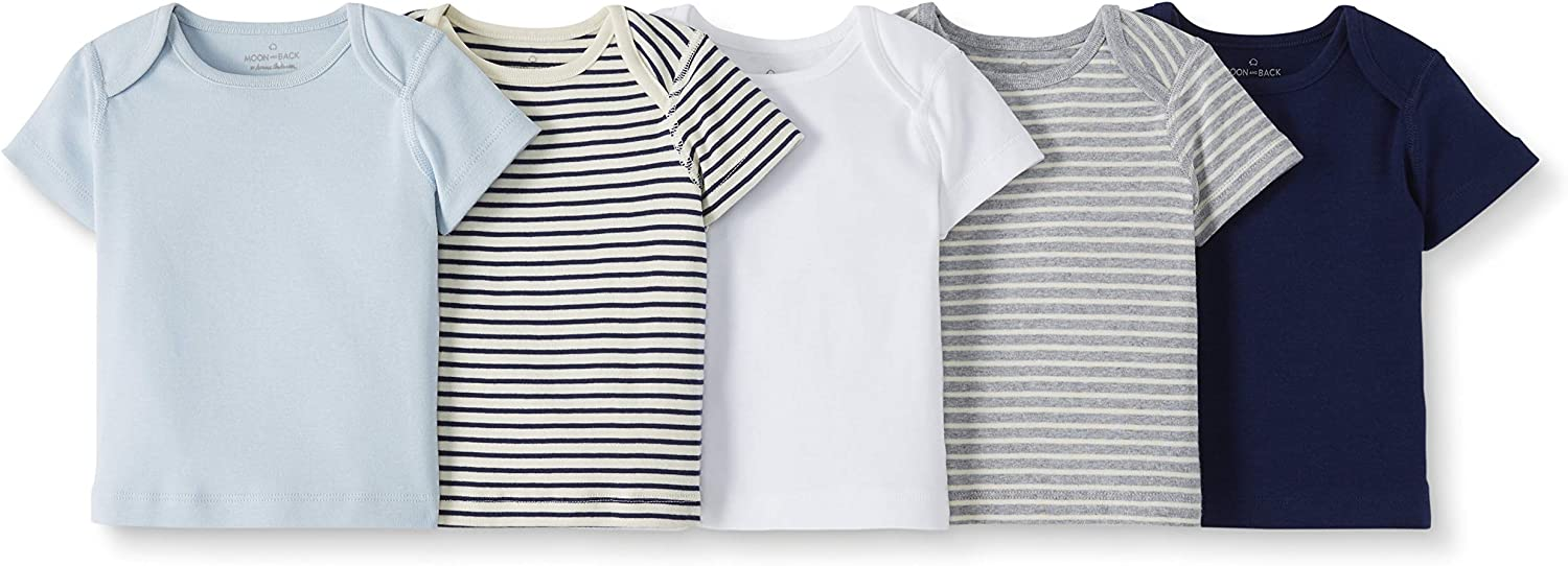 Moon and Back by Hanna Andersson Baby Boys and Girls 5-Pack Organic Cotton Lap Neck Crew Tee