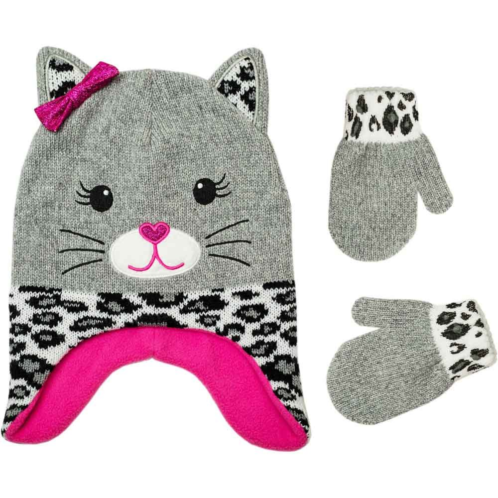 Toddler Girls Winter Accessories Hat Mitten Set Kitty Critter Light Grey 2T-5T