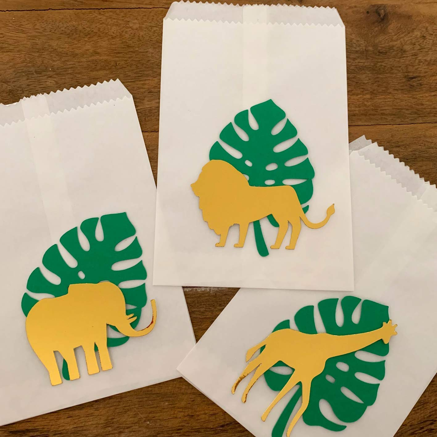 Jungle Party Cookie Bags Safari Animals Popcorn Favor Bags Jungle Leaf Thank You Bags Set of 6 Jungle Safari Birthday Favors