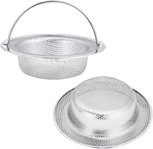 """Kitchen Sink Strainer, 2-Pack Sink Strainer Basket with Handle, 4.5"""" Diameter, Stainless Steel, Rust Free and Dishwasher Safe"""