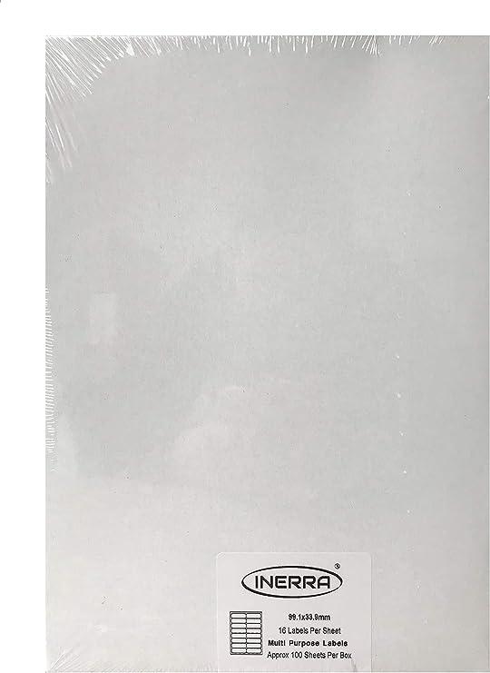 18 étiquettes par feuille x 20 feuilles Blanc Mat Copieur Jet d/'encre laser