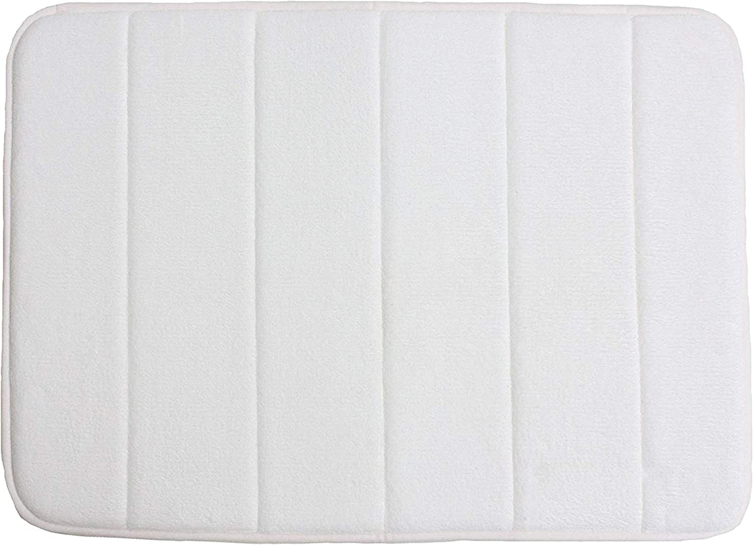 "Memory Foam Bath Mat Non Slip Ultra Soft and Absorbent 17x24"", Machine Washable Fast Dry for Shower, Vanity, Bath Tub, Sink, and Toilet-White"