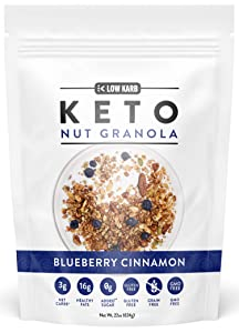 Low Karb - Keto Blueberry Nut Granola Healthy Breakfast Cereal - Low Carb Snacks & Food - 3g Net Carbs - Almonds, Pecans, Coconut and more (22 oz) (1 Count)
