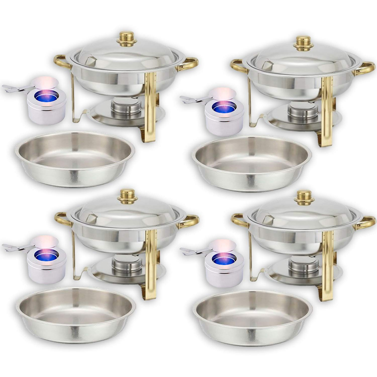 Round Chafing Dish Buffet Set — Water Pan + Food Pan (4 qt) + Frame + Fuel Holders - Stainless-Steel Warmer Kit 4 Pack