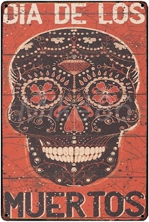 KUSTOM FACTORY Plaque Metal Skull Dia de Los Muertos