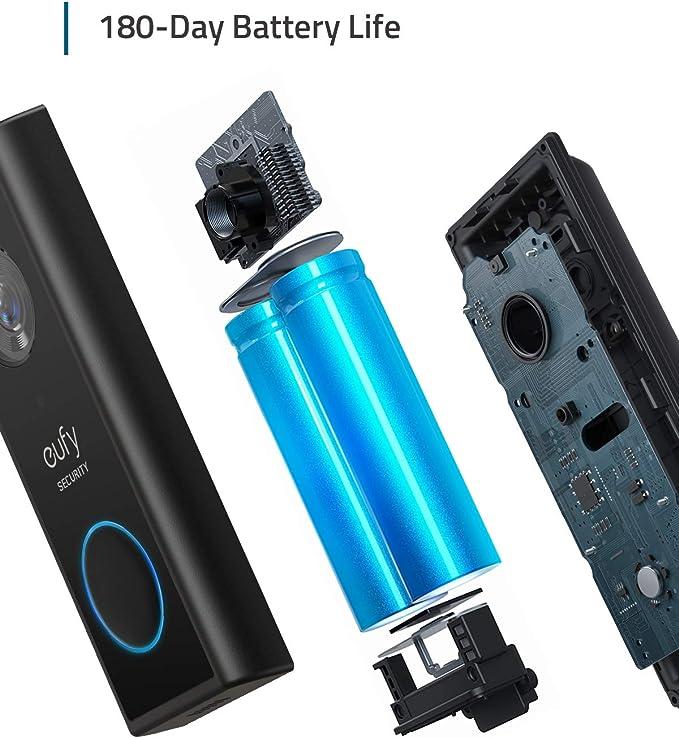 IA int/égr/ée pour la d/étection des Personnes Installation Autonome Simple eufy Security avec HD 2K Son bidirectionnel aucuns Frais mensuels Sonnette vid/éo sans Fil avec Batterie