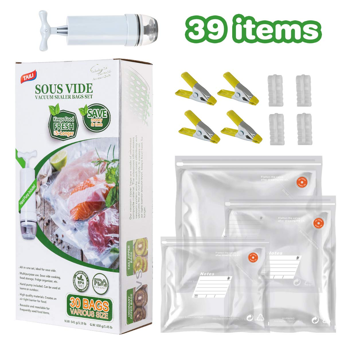 TAILI Sous Vide Bags Kit for Anova and Joule Cookers, 30x (3 Sizes) Reusable Vacuum Sealer Bags, BPA Free Vacuum Food Storage Bags,1 Hand Pump, 4 Sealing Clips and 4 Sous Vide Bag Clips