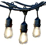 Brightech Ambience Pro LED, Waterproof Outdoor String Lights- Heavy Duty, Weatherproof Hanging Patio Lights, 1W Edison Bulbs- Commercial Grade Cafe/Bistro/Market Lighting for Decking- Gen 2