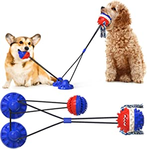 Suction Cup Dog Toy Pull Resistant Interactive Rope Dog Toy Dog Chew Toy That Can Clean Enough Teeth Dog Toys Large Breed(Dog Puzzle Toys for Large Dogs with Upgraded 2 Balls)