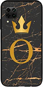 Okteq Clear TPU Protection and Hybrid Rigid Clear Back Cover Compatible with Huawei Nova 7i - Golden O letter black marble