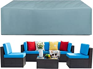 """Outdoor Sectional Cover, 126""""x 64""""x 29"""", 100% Waterproof, Patio Sectional Sofa Cover, 600D Durable Oxford,Patio Furniture Set Covers, Waterproof Patio Covers for Sectional Couch -Grayish Blue"""