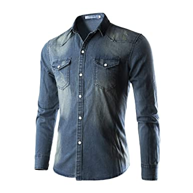 68bd10b04cdba Men Slim Fit Button Down Jeans Shirt Tops Casual Long Sleeve Denim Tee  Shirts at Amazon Men's Clothing store: