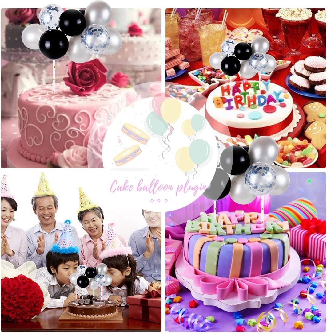O-Kinee Happy Birthday Cake Topper Boy Cupcake Decorations Mini Cake Confetti Balloons Cake Decorating,for Cake Decoration Birthday Wedding Baby Shower Black Silver
