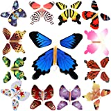Rinhoo 2-100Pcs Magic Fairy Flying in the Book/Card Butterfly Rubber Band Powered Wind Up Butterfly Toy Great Surprise Wedding Birthday Gift