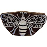 Sharvgun Wood Block Printing Hand Carved Indian Textile Stamp Dragonfly Motif Clay Project Scrapbook Pottery Craft