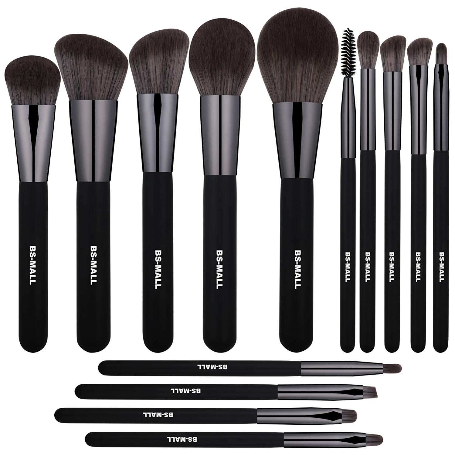 BS-MALL Makeup Brushes Premium Synthetic Foundation Powder Concealers Eye Shadows Silver Black Makeup Brush Sets(14 Pcs, Black)