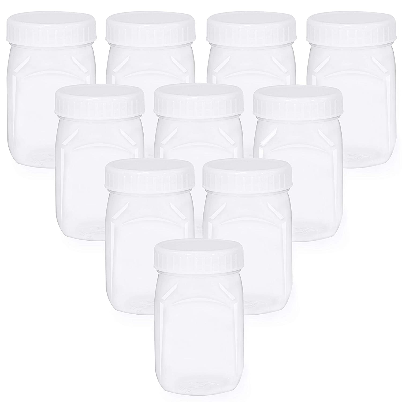 4 oz Small Plastic Mason Jar Square Bottle with Lids 10 Pk BPA Free Food Safe