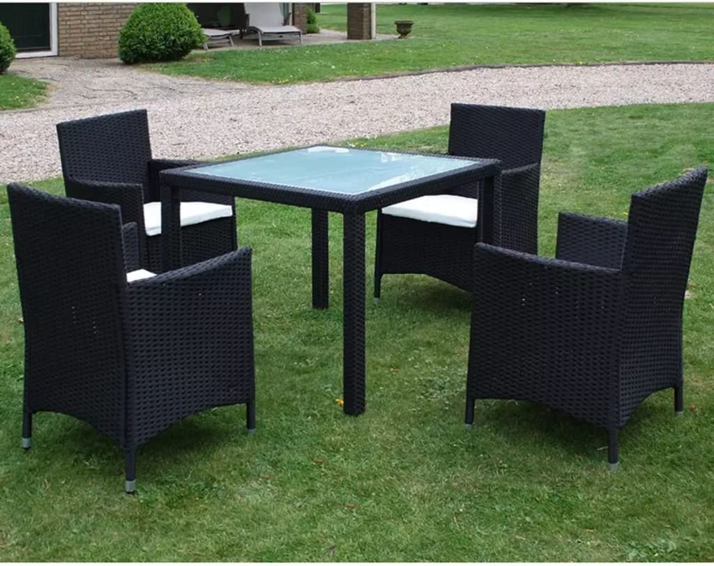 Tidyard 5 Piece Outdoor Garden Dining Set, Patio Dining Table Furniture Set, Glass Tabletop, Comfortable Cushions, Poly Rattan Black