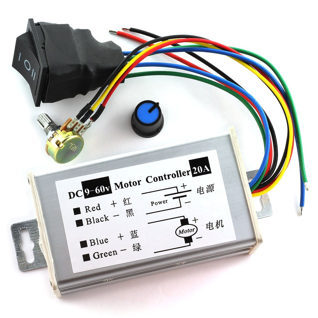 DZS Elec DC Motor Controller 9-60V Forward/Reverse High Power PWM Control Switch Motor Speed Regulator DC 12V 24V 36V 48V 60V 20A 1200W