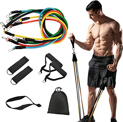 Set 17 Physical Therapy Yoga Resistance Bands Set for Resistance Training 2 Ankle Straps Home Workouts Including 5 Stackable Exercise Bands with Door Anchor,3 Latex Loop Bands