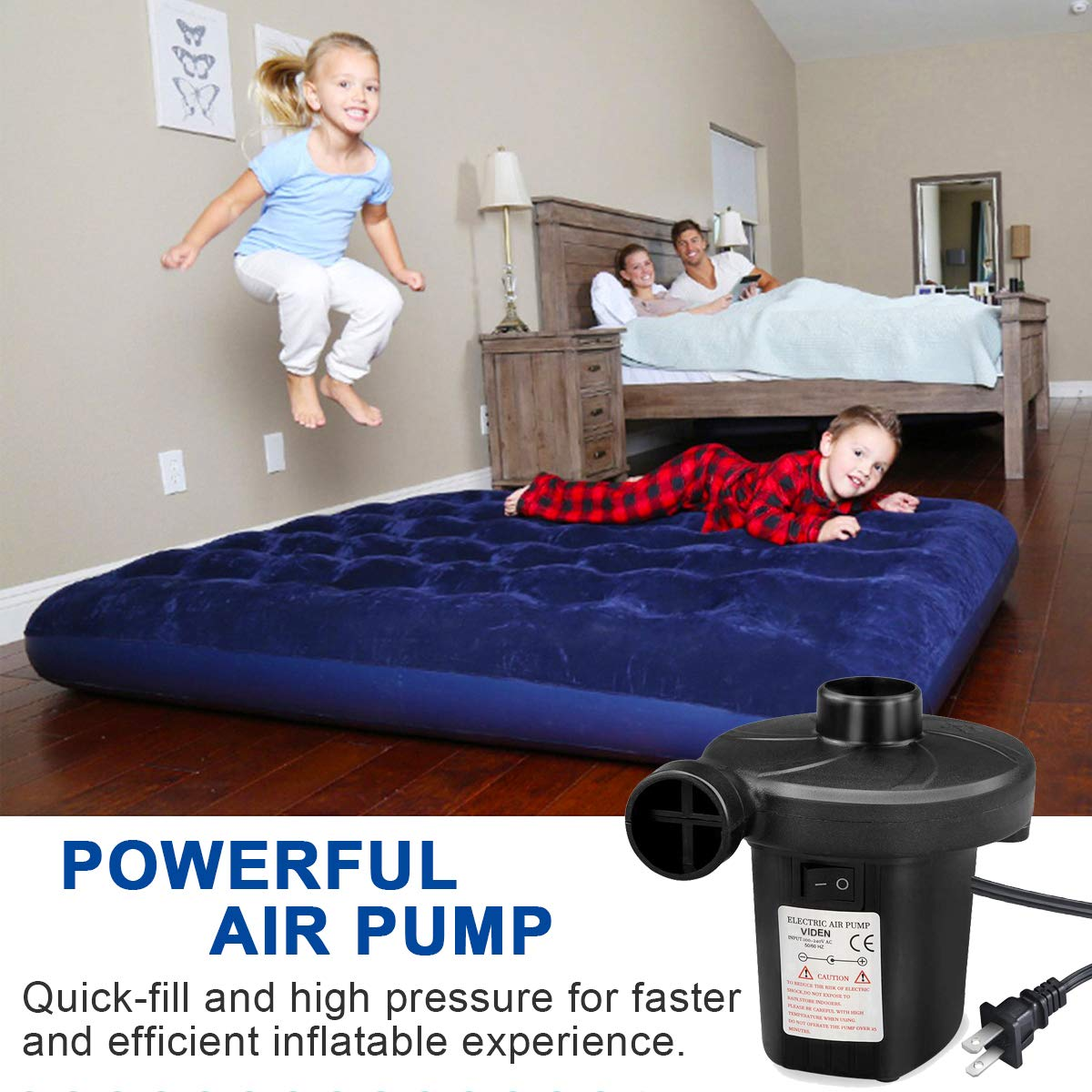 Camping,Sports VIDEN Air Pump for Inflatables,Electric Mattress Pumps,for Inflatable pool Kids Paddling Pools /& Toys,with 3 Nozzles,Quick-Fill 110-120V,Portable Airbed