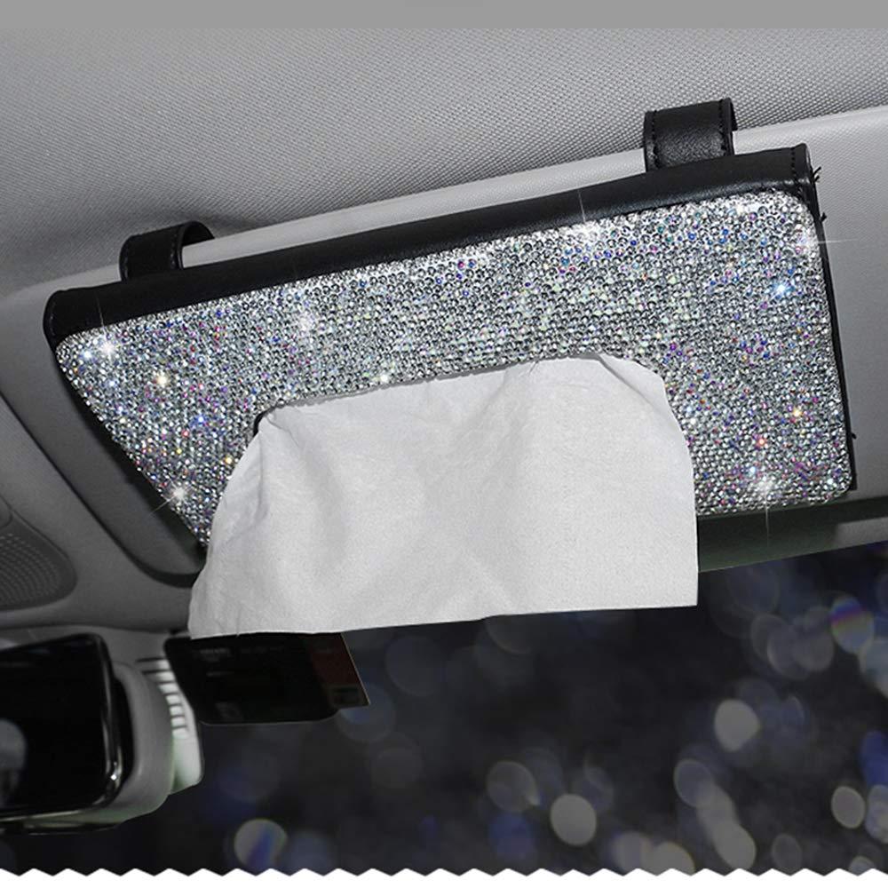 Uphily Bling Napkin Tissue Case Holder for Car Black Leather Facial Tissue Storage Box for Women or Girls