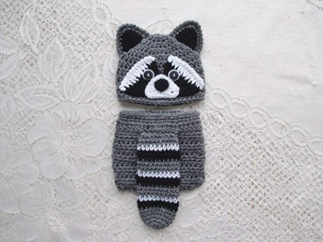 Amazon.com  Baby Raccoon Crochet Hat and Diaper Cover Set - Baby Photo Prop  - Baby Shower Gift - Available in 0 to 24 Months  Handmade 6c4ebda8065f