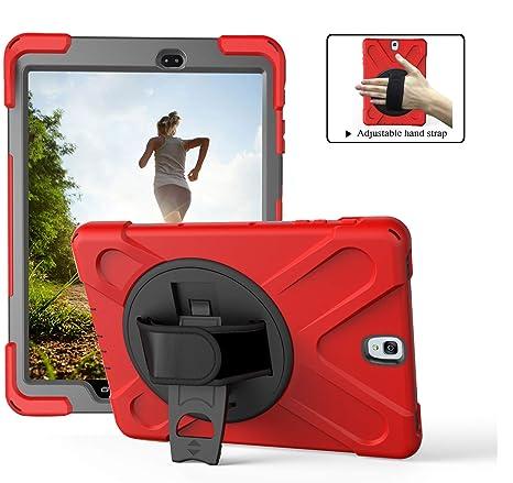 TianTa Funda Galaxy Tab S3 9.7 Híbrido Tres Capas Funda Carcasa con Correa de Mano y 360 Rotación Kickstand para Samsung Tab S3 9.7-Inch SM-T820/T825 ...
