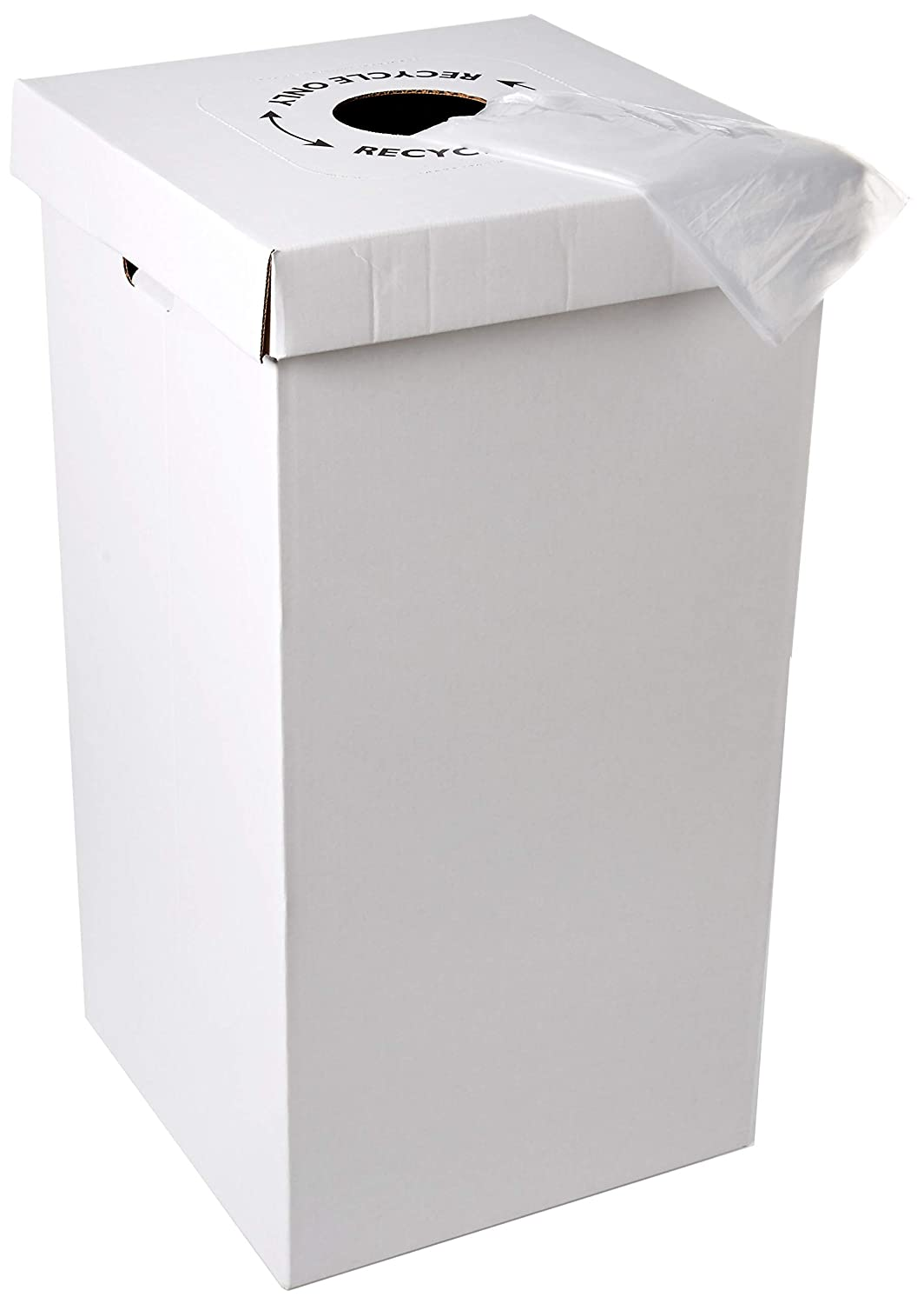 Disposable Cardboard Trash and Recycling Boxes: Bin + Lid + Trash Bag- White (Qty. 10 Sets)