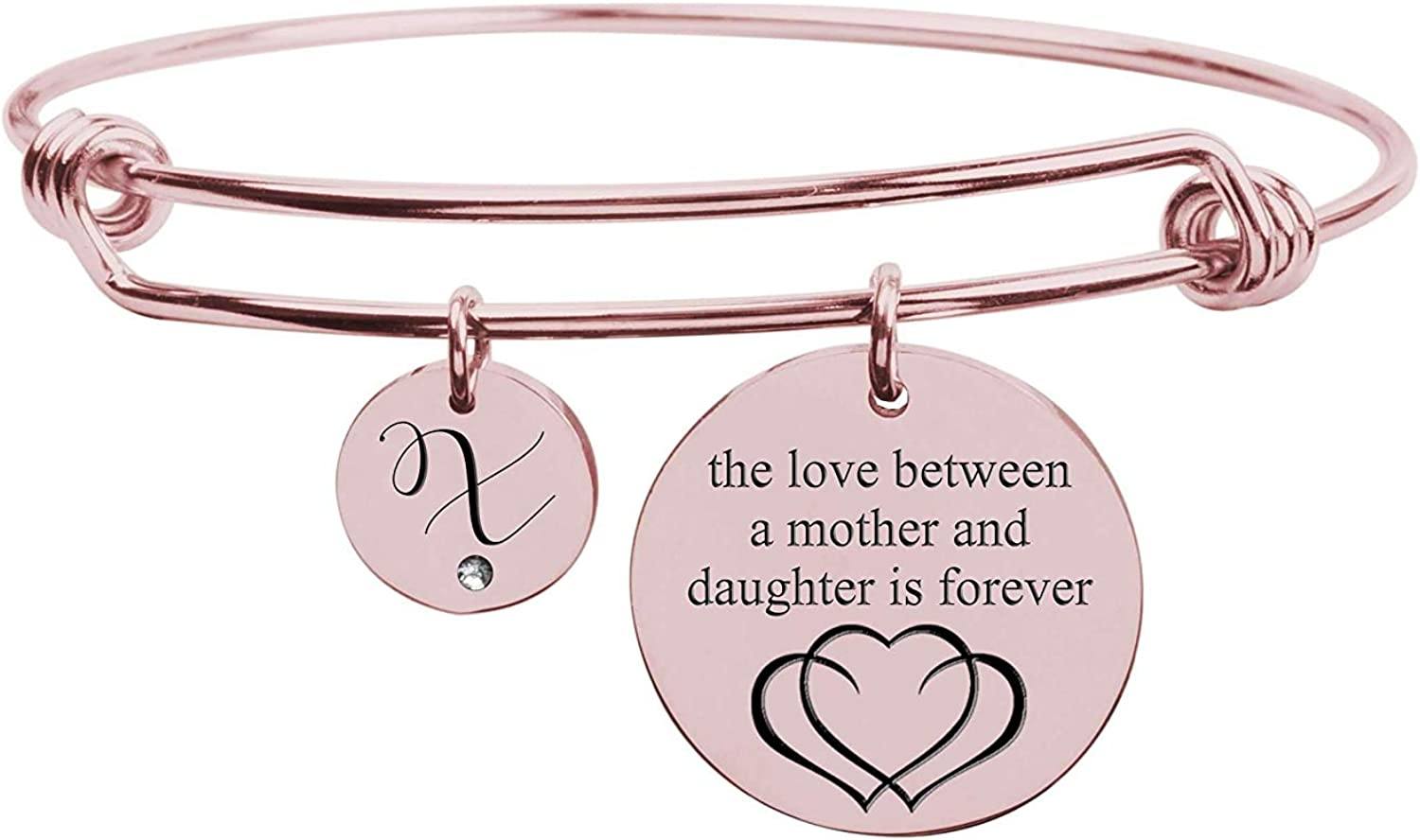 Pink Box Love Between Mother Initial Bangle with Cubic Zirconia Rose Gold X