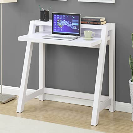 Merveilleux White Modern Space Saving Desk With Top Shelf, Shelving, Open Storage Space,  Made