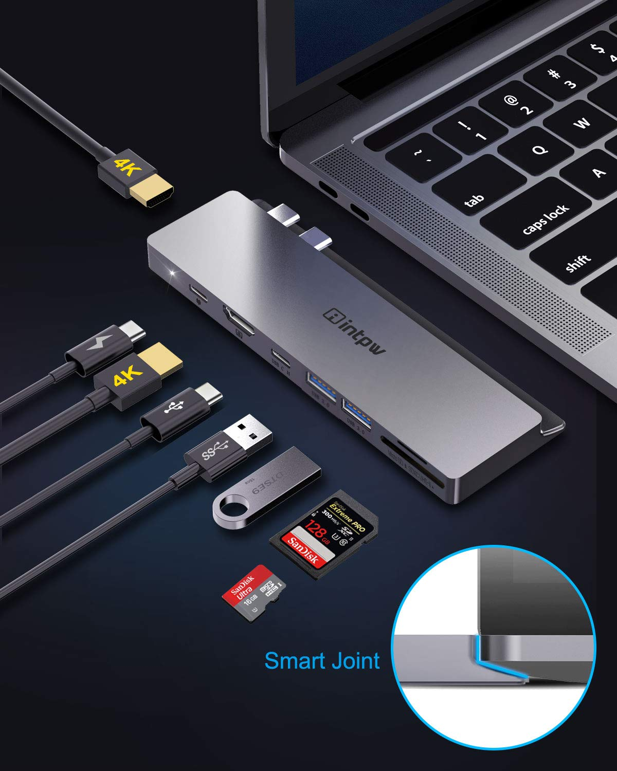USB C Dock Hub Adapter 8 in 1 Thunderbolt 3 Dock w//UHS-II SD Card Reader INTPW Updated USB C Docking Station with Dual 4k HDMI for MacBook Pro MacBook Air 2019 2018 3 USB 3.0 Ports 87W USB-C PD