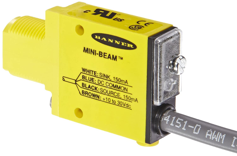 2 m PVC 4-Wire Cable NPN and PNP Polarized-Retroreflective Sensing Mode Visible Red LED Banner SM312LP Mini Beam Photoelectric Sensor Output 10-30 VDC Supply Voltage Bipolar 3 m Sensing Range
