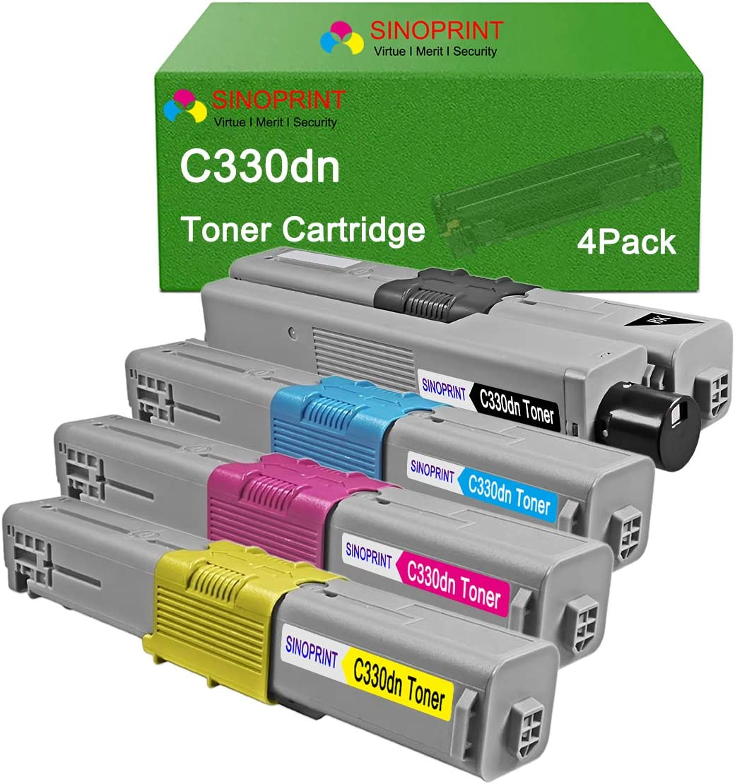 4pk Comp Toner Cartridge Set for Okidate Type C17 44469801 44469701 44469702