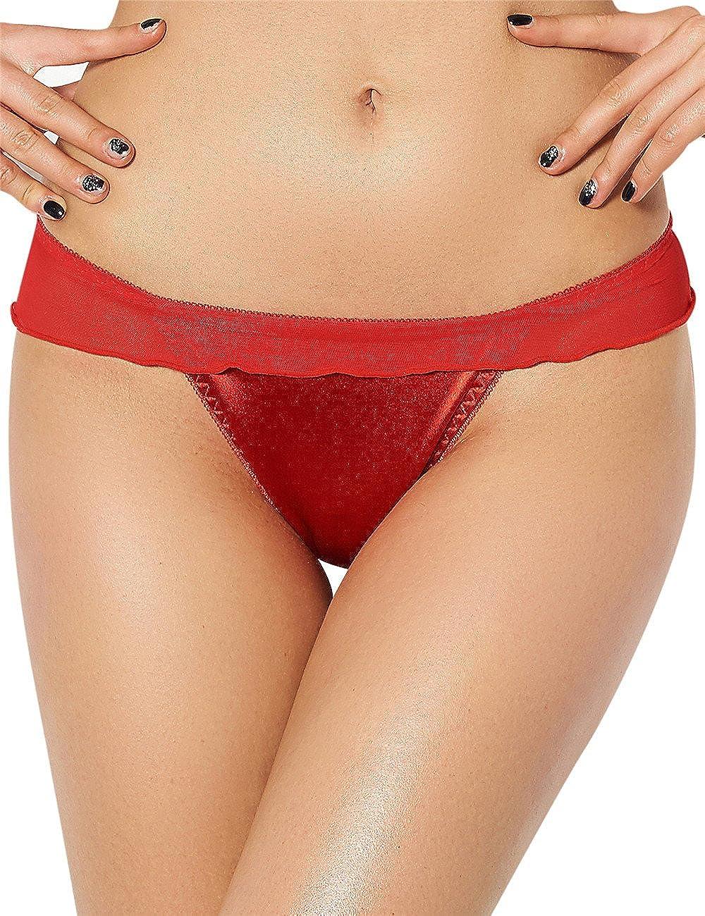 Oliveya Womens Satin Bow Lingerie G-String Thongs Sheer Ruffle Panties Underwear