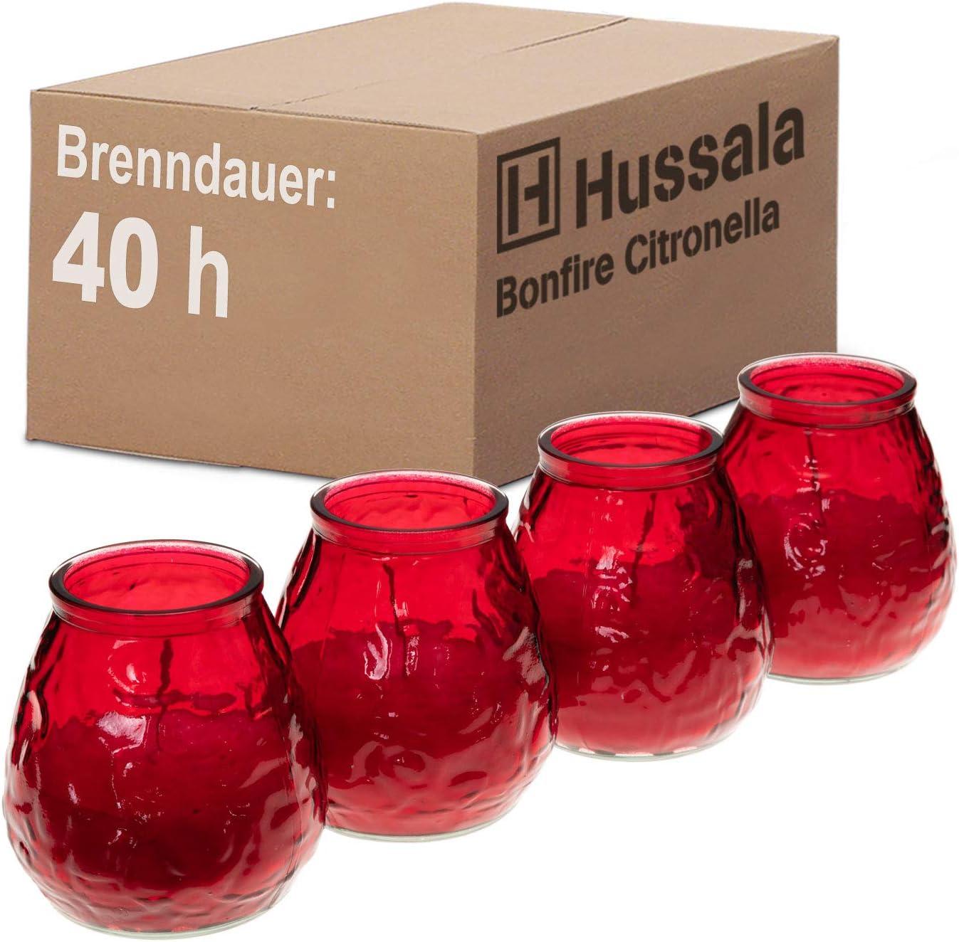 Outdoor /& Indoor-Kerze Brennzeit 40 h 4 St/ück gr/ün Hussala Bonfire Citronella Duft Kerzen mit Windlicht-Glas
