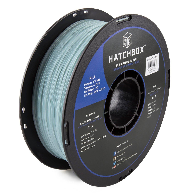 HATCHBOX PLA 3D Printer Filament, Dimensional Accuracy +/- 0.03 mm, 1 kg Spool, 1.75 mm - Glow in The Dark - Blue