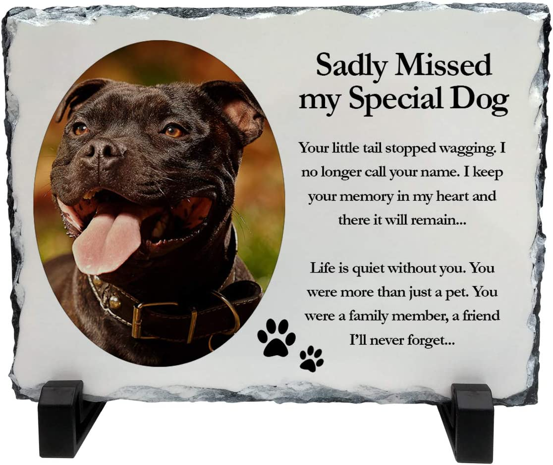 Personalised Sadly Missed Special Dog Memorial Pet Rock Slate Photo 20cm x 15cm Add any photo//text Gift idea Landscape Dogs Cats