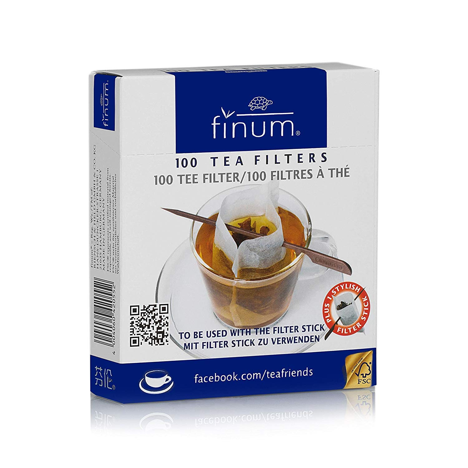 Finum Disposable Cup-Sized Paper Tea Filter Bags for Loose Tea plus Stylish Filter Holding Stick, 100 Count, White (Pack of 30)