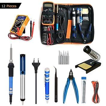 Tian Kit de Soldadura Electrónica 60W 220V Temperatura Regulable Kit Soldador de Estaño Profesional con Multímetro