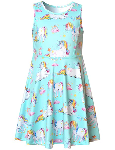 a57e638a96 Cute Summer Dresses for Girls Unicorn Toddler Rainbow Party American Kid  Blue
