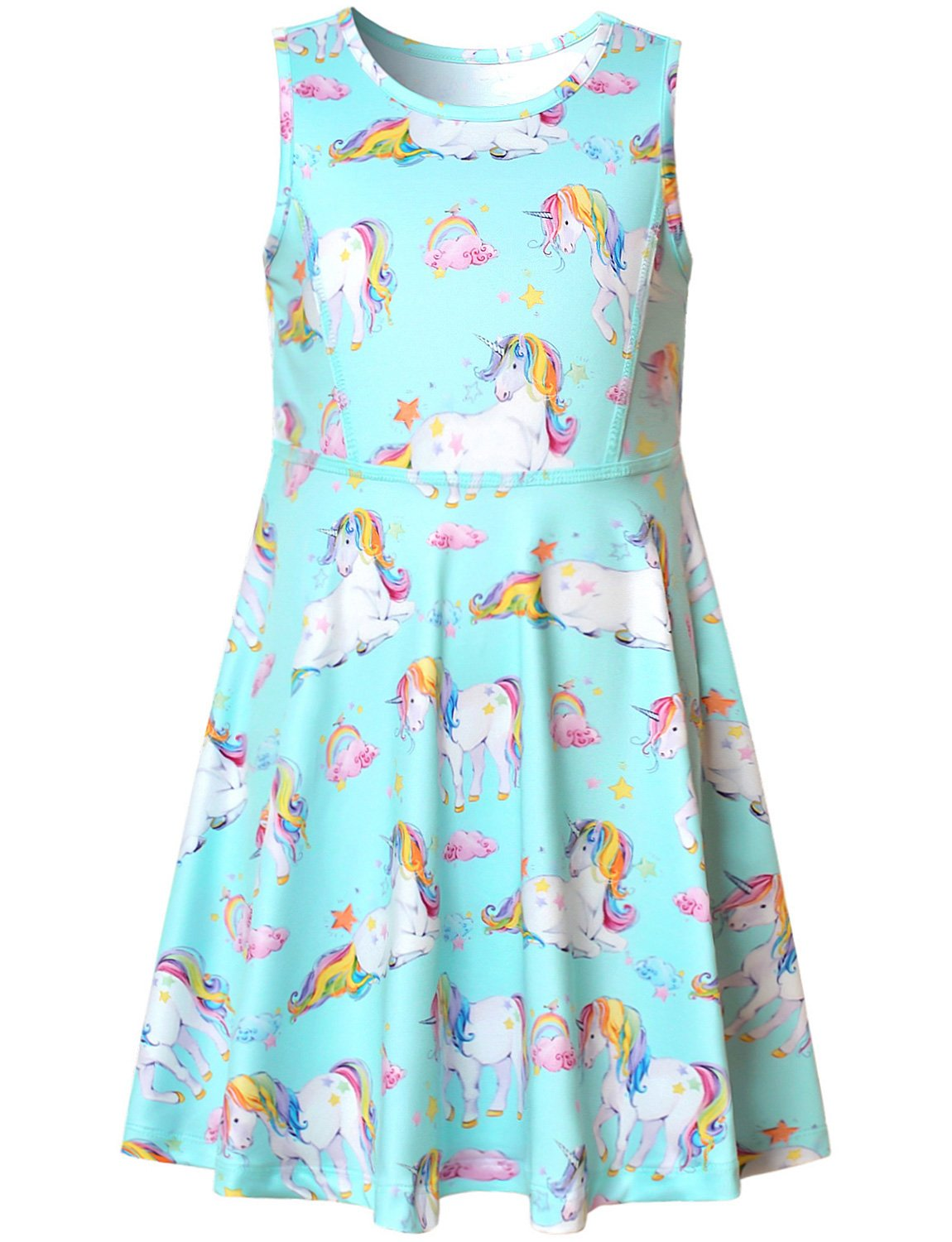 Unicorn Party Dress Girl Rainbow Birthday Supplies Summer Teens American Casual