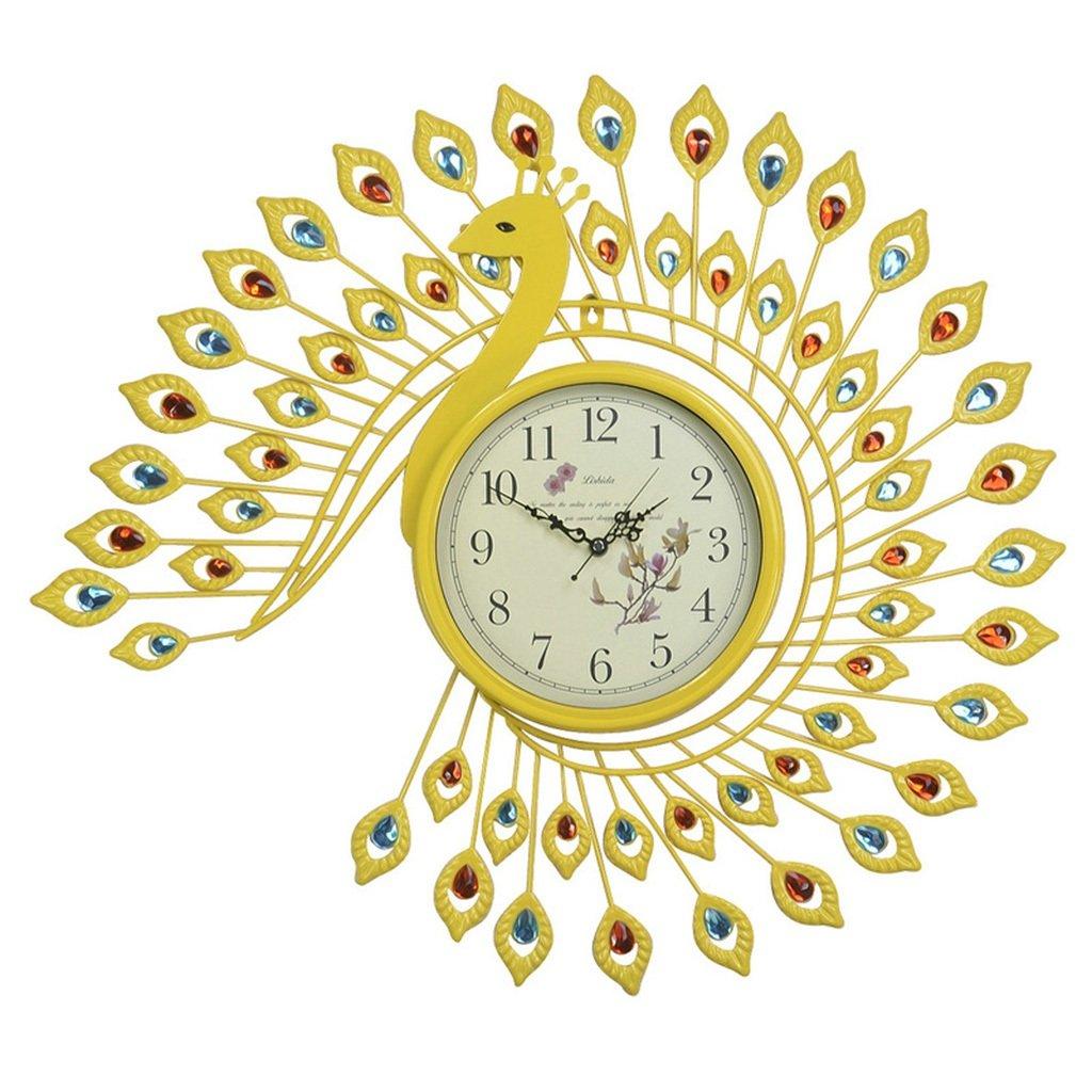 JCRNJSB® ファッションクロック孔雀の壁時計、時計のリビングルームミュートの寝室の装飾ヨーロッパスタイルのレトロな創造的な芸術の壁時計の時計65x73cm 壁掛けサスペンション クロックウォールクロック クォーツ時計 (色 : #3) B07CVV9MNJ#3