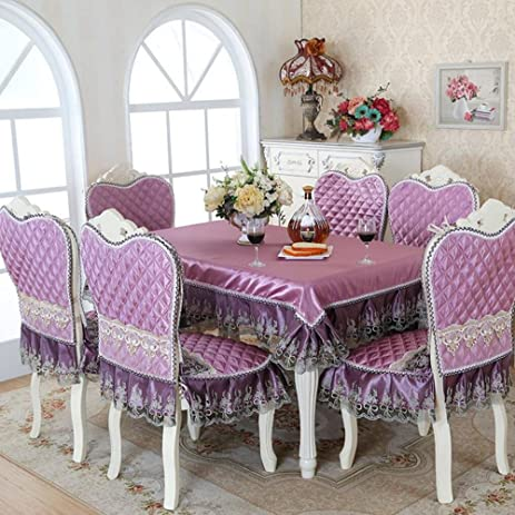 5/7-Piece Luxury Table Cloth Set Imitated Silk Lace Tablecloth Chair Cover For & Amazon.com: 5/7-Piece Luxury Table Cloth Set Imitated Silk Lace ...