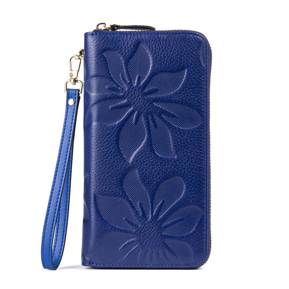BOSTANTEN Leather Wallet Purse Long Credit Card Organizer Wristlet for Women Green