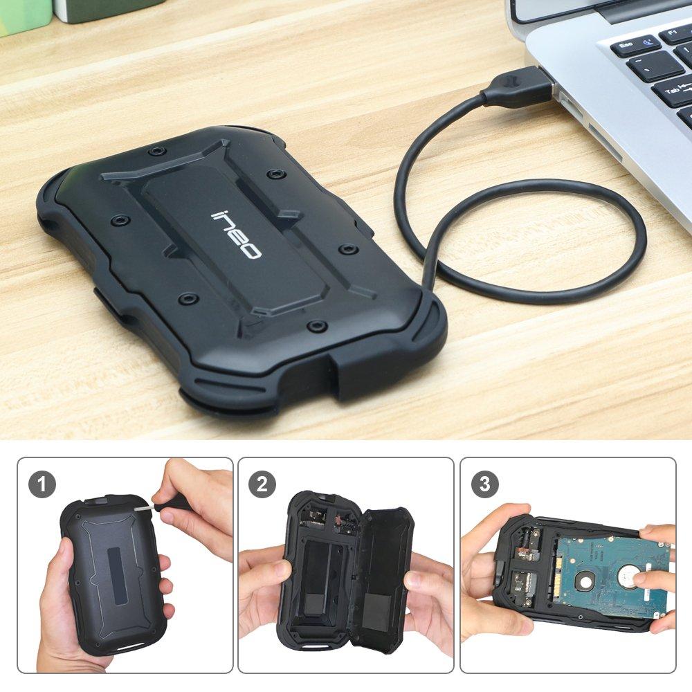 "ElecGear Externes Festplatten Geh/äuse IPX6 Wasserbest/ändig USB 3.1 Type C Wasserfestes Festplattengeh/äuse f/ür 2,5-Zoll Festplatte IP6X Military Sto/ßfest Case f/ür 2,5/"" SATA HDD SSD Hard Drive"