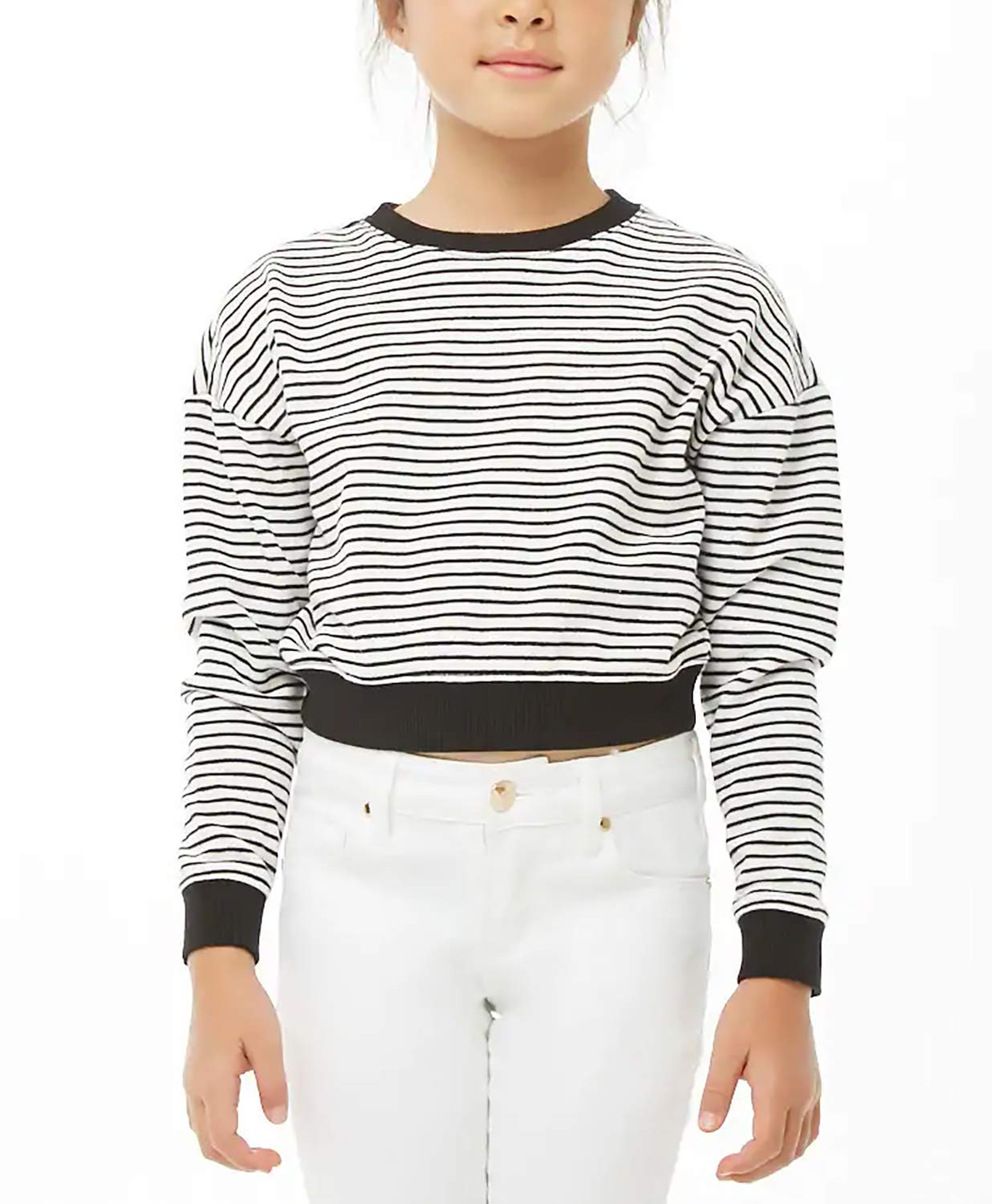 KunLunMen Girls Cropped Tops Casual Fall Clothes Long Sleeves Striped t Shirts Blouses Black Size 4-5