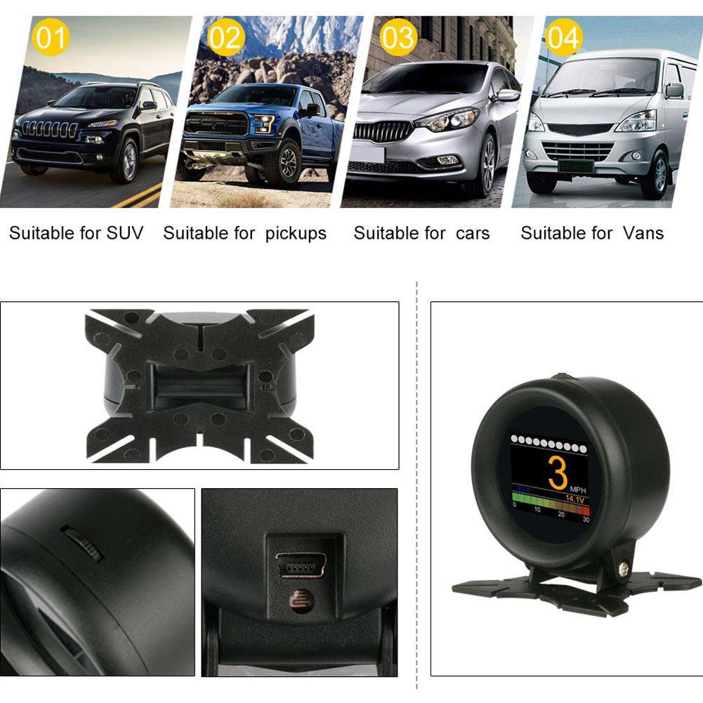 Medidor Turbo Coche Digital, AUTOOL Velocímetro Coche OBD escáner digital medidor velocidad Alarma Temperatura del agua Medidor Voltaje de coche para 12V ...